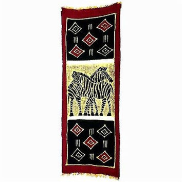 Vertical Zebras with Diamonds Batik Wall Hanging