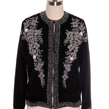 Vintage Womens Beaded Sweater 1950s | Black Cashmere | Heavy Floral Beading| Large