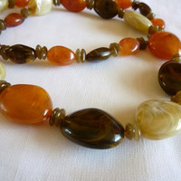 Lucite Faux Agate Necklace, One Strand Lucite Flapper Necklace, Lucite Jewelry