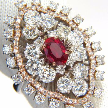 GIA Certified 6.01ct natural no heat supreme red ruby diamonds cluster ring 18kt