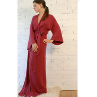 long kimono robe in viscose of bamboo  -  BON BON sleepwear range - made to order