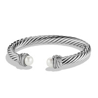 Crossover Bracelet with Pearls and Diamonds - David Yurman