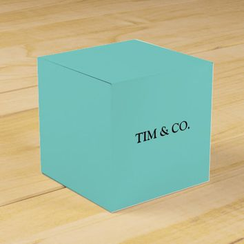 TURQUOISE TIFFANY BLUE CUSTOM CUSTOMIZABLE SQUARE FAVOR BOX