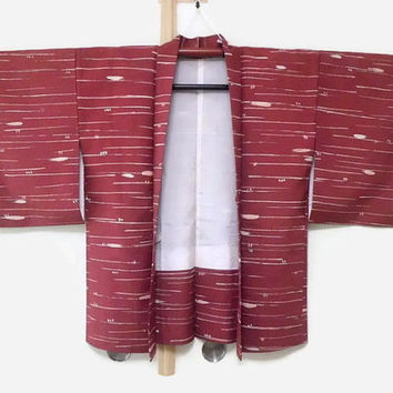 Maroon Vintage Japanese Haori/ Maroon Red Kimono Jacket/ Red Vintage Jacket/ Red Wool Jacket/ Traditional Costume/ Vintage Fashion JA0007VH