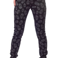 Sourpuss Black Gray Lust for Skulls Skinny Jeans Pants