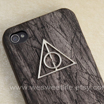 Harry potter Deathly Hallows iphone case, Iphone 4 Case, Black Wooden Iphone case, Iphone 4S case, for Iphone 4, 4s, 4g