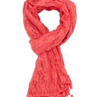 Lace & Pom-Pom Scarf by Charlotte Russe