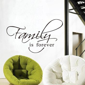 DCTOP Family Is Forever Wall Art Decal Quote Words Lettering Decor Sticker Wall Decals Home Decor Room Decoration