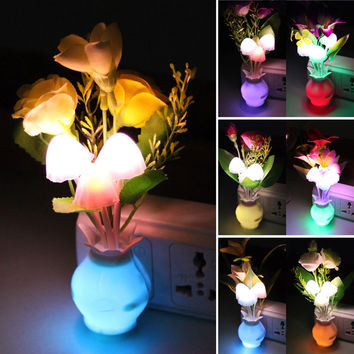 BEST Romantic Flower Mushroom Vase LED Light Atmosphere Sense Control Table Lamp Artificial Flower Night Lamp Bottle Lampara