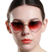 Heart Shape Alloy Frame Ombre Sunglasses