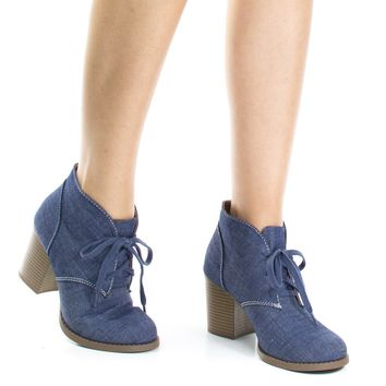 Ripley Blue Jean Denim By Soda, Chunky High Block Heel Booties, Lace Up Round Toe Fashion Ankle boots