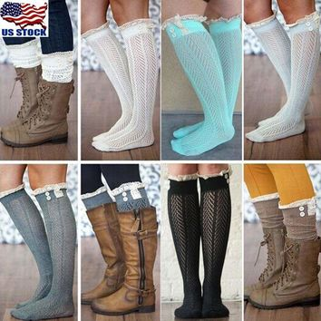 Womens Winter Lace Cable Knit Over Knee Long Boot Thigh-High Warm Socks Leggings