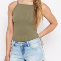 Olive Ribbed High Neck Cami | Casual Tank Tops | rue21