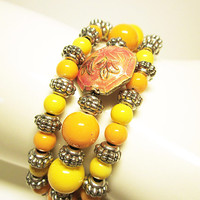 Yellow Beaded Wrap Cuff Bracelet Yellow Memory Wire Stack Bracelet JEWELRY