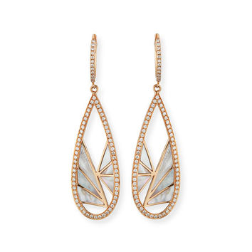 Frederic Sage Venus Sliced Mother-of-Pearl Drop Earrings with Diamonds in 18K Pink Gold