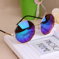 Summer Retro Round Sunglasses Fashion Octagonal Diamond Circular Metal Sun Glasses for Man and Women