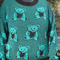 Tacky sweater, tacky christmas sweater, holiday sweater, tacky holiday sweater, teddy bear sweater, blue sweater. kawaii sweater
