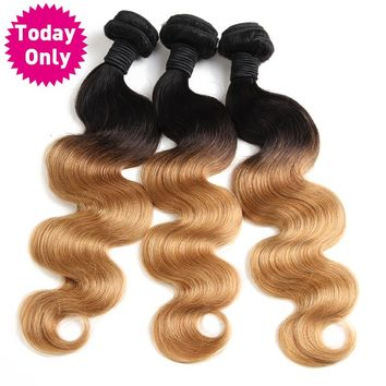 Blonde Brazilian Body Wave Bundles Ombre Human Hair Weave Bundles Two Tone 1b 27 Non Remy Hair Can Buy 3 or 4 Pcs