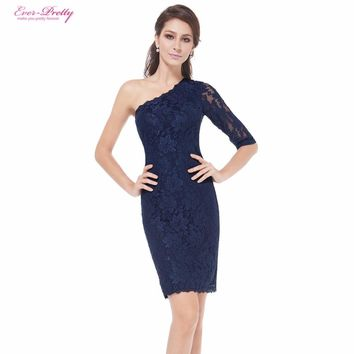 [Clearance Sale] Cocktail Dress Ever-Pretty HE03846BK One Shoulder Short Lacey Fashion Cocktail Homecoming Dress 2017 New