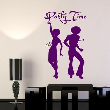 Vinyl Wall Decal African Man And Woman Disco Party Time Stickers (2611ig)