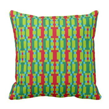 "Blocks and ""I"" Pattern Throw Pillow"