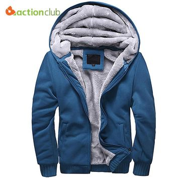 ACTIONCLUB Winter Thicken Hoodie Men Zipper Hooded Coat Brand Mens Tracksuit Sweatshirt Solid Color Thick Warm Plus size Hoodies