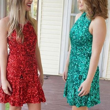 Red & Green Halter Bodycon Homecoming Dresses,Paillette Short Homecoming Dresses