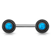 Turquoise Centered Tribal Nipple Barbell Single  Surgical Steel Nipple Piercing Nipple Rings 14ga