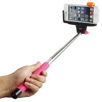 Built in Bluetooth Extendable Selfie Stick Monopod Holder Multi Available - Pink