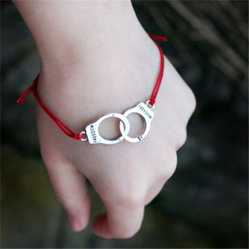 Handcuffs Colored Wax Line Fashion Bracelet