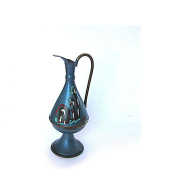 Blue vase. Small vase. Hand painted copper. Pedestal vase with handle. Copper pitcher. Vintage. Made in Israel.