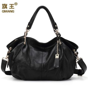 Qiwang Women Genuine Leather Hobo Bag Female Real Leather Handbag Luxury Woman Office Fashion Bag Large Casual Shoulder Bags