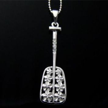 STERLING SILVER 925 HAWAIIAN 8 PLUMERIA FLOWER CZ PADDLE PENDANT