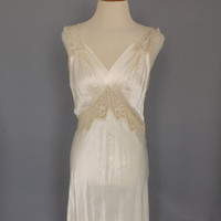 Vintage 1940s Lady Leonora Ivory Silk Cream Lace Nightgown Lingerie Pin Up Boudoir Fashion Long Gown Wedding Night Lingerie 40s Art Deco