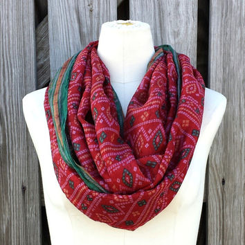 Warm Red Infinity Scarf - Vintage Upcycled Silk Sari Red Eternity Scarf - Warm Tomato Red and Green