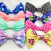 Summer Hair Bow Set of Four Large Bows- Polka Dots, Florals, Pastels, Hearts and More