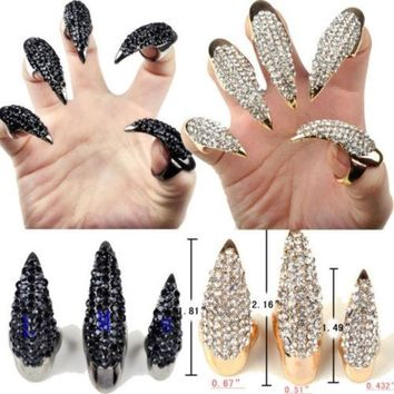 DCCKIX3 Gothic Punk Cool Rock Eagle Claw Crystal Rhinestones Finger Nail Hook Ring = 1929638916