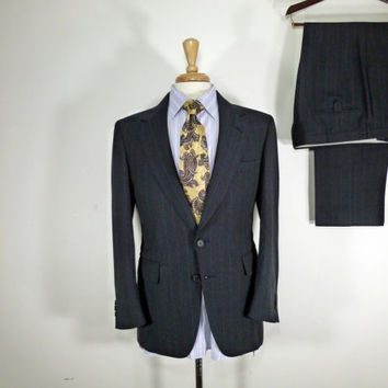 Vintage Mens suit, vintage clothing 80's by Adams Row Brushed Two Piece Two Button Dark Grey with Blue, Grey and White Pinstripes 36 38
