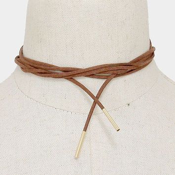 Long Gold & Brown Suede Tie Choker Necklace