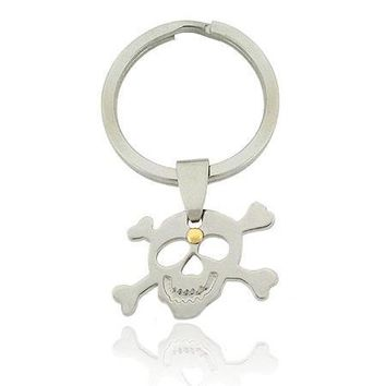 Genuine 18K Gold & Stainless Steel Skull & Crossbones Key Ring