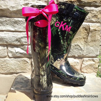 Black Camo Rain Boots with Your Choice of Custom Bows and Monogram