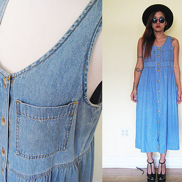 Vintage 90's jeans denim babydoll maxi sleeveless button down maxi dress