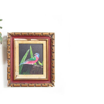 Vintage Oil Painting -- Mid Century Art -- Framed Bird Painting -- Wall Art in Wooden Frame