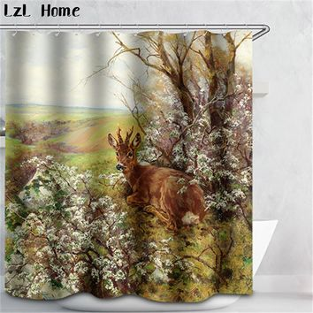 New Polyester Shower Curtain Giraffe Waterproof Home Bathroom Curtains animal Deer Scenery 3d Waterproof Bath Curtain with Hook