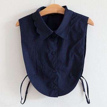 Mock shirt for sweaters / Navy bib collar / Scalloped collar / XS-S