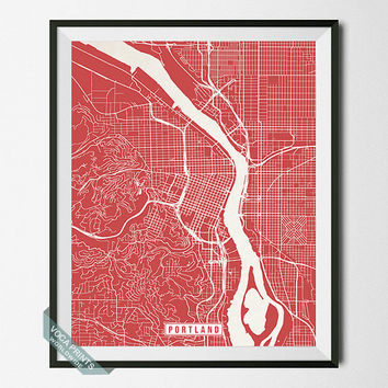 Portland Print, Oregon Poster, Portland Poster, Portland Map, Oregon Print, Street Map, Oregon Map, Map Print, Wall Art