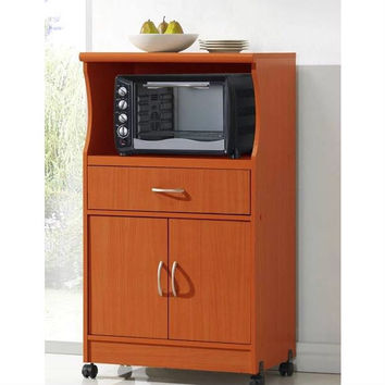 Microwave Cart On Wheels with Storage Drawer & Shelves in Cherry