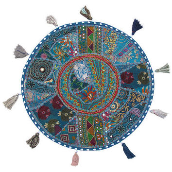 "17"" Patchwork Round Floor Pillow Cushion in Blue round embroidered Bohemian Patchwork floor cushion pouf Vintage Indian Foot Stool ottoman"