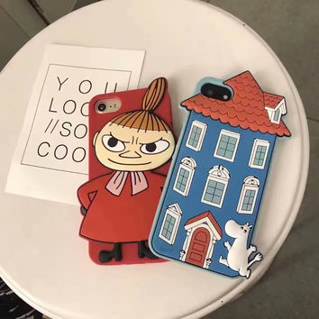3D Moomin House Case for iPhone 7 7plus 6 6s 6plus Soft Silicone Little My Back Case Funda Cover-04410