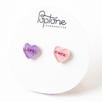 Custom Conversation Heart Earrings, valentine earrings, candy hearts, valentines gift for her, love, oxox
